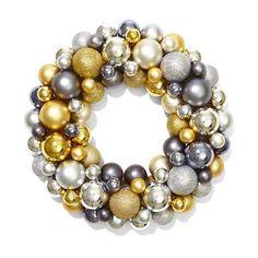 Ornamental Shimmer Ball Wreath-36cm, Gold/Silver/Grey | Kmart
