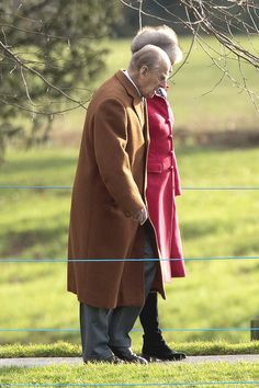 The Duke of Edinburgh walking to church at Sandringham in the sunshine this morning. The 9...