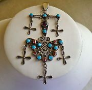 Aztec Mayan Design Mexico STERLING SILVER Pendant Turquoise Carnelian Amethyst