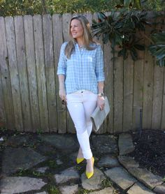 We love how Bethany, from Southern Chic Style, styles her J.Jill plaid double-cloth shirt for spring.