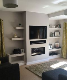 Before you have a new fire installed have a look at our gallery of false chimney breast installations here at The Fireplace Studio Brighouse. Fireplace Feature Wall, Feature Wall Living Room, Living Room Decor Fireplace, Fireplace Tv Wall, Living Room Grey, Home Living Room, Living Room Designs, Fireplace Ideas, Mantle Ideas