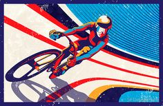 retro track cycling print poster