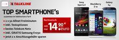 Samsung Galaxy S4, Blackberry Z10, Sony Xperia Z für rechnerisch 357,60 EUR