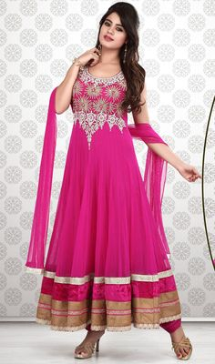 Pink Shade Embroidered Net Long Anarkali Suit Price: Usa Dollar $219, British UK Pound £129, Euro161, Canada CA$237 , Indian Rs11826.