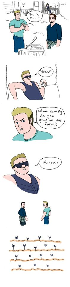 pocketaimee:This is all I could think of when I heard Hawkeye had a farm. #avengers #aou