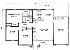 Ranch House Plan 96565 Level One