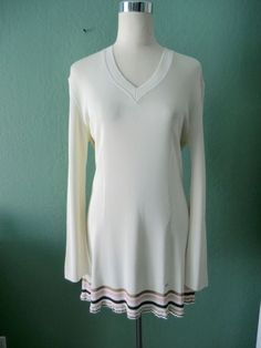 AUTHENTIC SONIA RYKIEL IVORY V-NECK LONG SLEEVE LONG KNIT TOP MADE IN FRANCE TM #CorsageByTracyReese #KnitCardigan #Casual