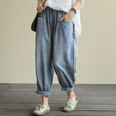 Summer Thin Denim Pants Denim Pants, Harem Pants, Daily Fashion, How To Look Better, Thighs, Pants For Women, Lady, Casual