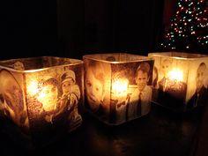 Interesting idea. Modge podge photos onto candle holders Amanda Cromwell