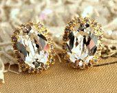Bridal bridesmaids Stud crystal earrings- 14 gold plated plated real Swarovski stud earrings .