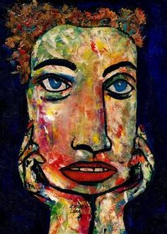 "Saatchi Art Artist CARMEN LUNA; Painting, ""44-RETRATOS Expresionistas. Romántica."" #art http://www.saatchiart.com/art-collection/Painting-Assemblage-Collage/Expressionist-Portrait/71968/51263/view"