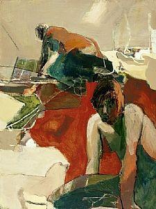Floor Art (Two Figures, Red Floor) by Linda Christensen Oil ~ 40 x 30