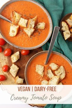 This vegan tomato soup is incredibly creamy and so easy to make! Made in less than 30 minutes, this soup is filled with comforting flavors.