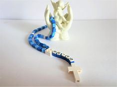 Chapelet bleu personnalisé fait avec des briques Lego - Première Communion, baptême, cadeau de Confirmation-