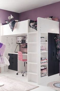 Sleeping, working, storage and wardrobe space – you have space for it all with the STUVA loft bed. Sleeping, working, storage and wardrobe space – you have space for it all with the STUVA loft bed. Ikea Girls Bedroom, Teen Girl Bedrooms, Attic Bedrooms, Dream Rooms, Dream Bedroom, Bedroom Loft, White Bedroom, Stuva Loft Bed, Bunk Bed Desk