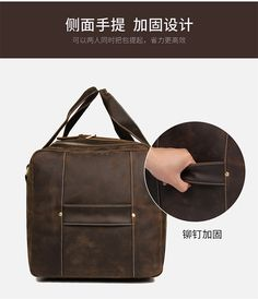 "Men Travel Bag Duffle Large Capability Genuine Leather 27"" Weekend Bags Man Tote Business Vintage Designer Handbag Bag Mens Weekend Bag, Weekend Bags, Duffle Bag Travel, Travel Bags, Men's Totes, Backpacks, Business, Leather, Vintage"