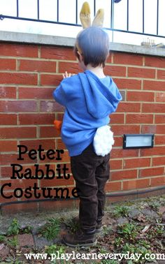 How to make a simple Peter Rabbit costume, no sewing involved for World Book Day or other dress up day. Book Costumes, World Book Day Costumes, Book Week Costume, Easy Costumes, Dress Up Costumes, Costume Ideas, Teacher Costumes, Halloween Costumes, Costumes Kids