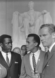 Sidney Poitier, Harry Belafonte and Charlton Heston at The March on Washington, 1963.