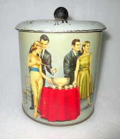 Vintage Old English Couple Dancing In Birthday Party Litho Print Round Tin Box…