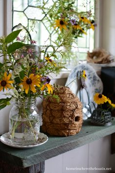Flowers and a bee skep in Mary's potting shed. Bee Skep, Bee Hives, I Love Bees, Black Eyed Susan, Bee Happy, Save The Bees, Bees Knees, Bee Keeping, Mellow Yellow