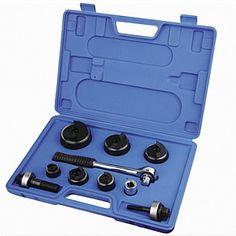 """סט ניקוב ידני CC-60 הכולל: 6 פנצ'ים (ניקוב פח) ידני לקוטר ניקוב מ- 22 מ""""מ עד 62.5 מ""""מ, 2 ברגי משיכה וידית רצ'ט"""