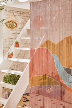 Shop Landscape Bamboo Beaded Curtain at Urban Outfitters today. Bamboo Beaded Curtains, Bead Curtains, Shower Curtains, Room Divider Curtain, Window Curtains, Diy Home Decor For Apartments, Bamboo Crafts, Boho Home, Diy Coffee Table
