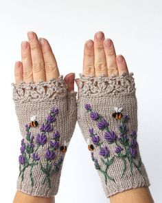 Knitted Fingerless Gloves, Lavender, Bees, Clothing and Accessories,Gloves & Mittens,Gift Ideas, For Her,Winter Accessories,Accessories,Fall