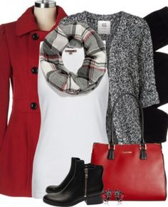 Red Pea Coat and Black Fall Winter Outfit Combination