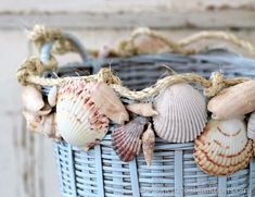 Basket makeover with blue paint, shells and rope featured on Completely Coastal. Shell Beach, Ocean Beach, Seashell Art, Seashell Crafts, Crafts With Seashells, Sea Crafts, Decor Crafts, Nature Crafts, Seashell Projects