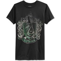 Bioworld Men's Harry Potter Slytherin Crest T-Shirt ($12) ❤ liked on Polyvore featuring men's fashion, men's clothing, men's shirts, men's t-shirts, tops, black and mens t shirts
