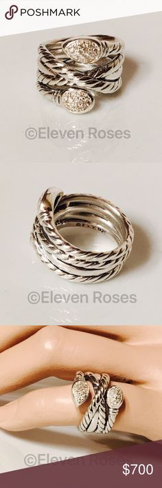 David Yurman Renaissance Crossover Diamond Ring David Yurman Renaissance Crossover Diamond Ring  -  925 Sterling Silver - Approx .19 CTW Pave Diamonds - Neiman Marcus Item Number; NMS16_Y262L - US Size 5 - Excellent Condition - Has Been Professionally Authenticated David Yurman Jewelry Rings