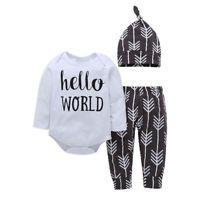 3PCS Newborn Baby Boy Girl Outfit Clothes Romper Jumpsuit Bodysuit+Pants Hat Set