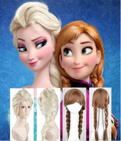 New Disney Movies Frozen Snow Queen Elsa Anna Blonde Weaving Braid Cosplay Wig