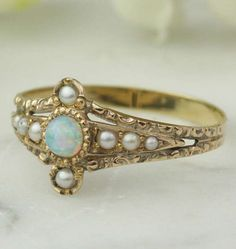 Antique Opal and Pearl Ring - c. 1870-1890 - 14k rose gold, seed pearls, black crystal opal.