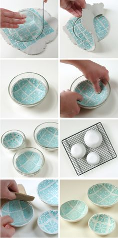 Step by step Diy Stamped Clay Bowls - polymer clay picture tutorial
