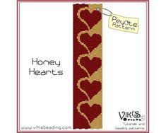 Peyote Stitch Pattern Honey Hearts by VikisBeadingPatterns on Etsy, $6.50