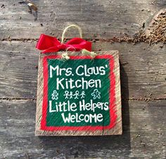 barnwood crafts ideas   MRS CLAUS KITCHEN Barn Wood Sign Christmas   Holiday Ideas & Crafts