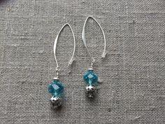 Earrings / Øreringe. Blue dangle earrings made of silver and crystal. www.bulowssmykker55.amioamio.com