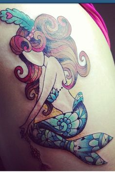 Mermaid tattoo, but with a face and no hair feather Dream Tattoos, Time Tattoos, Future Tattoos, New Tattoos, Cool Tattoos, Sleeve Tattoos, Tatoos, Mujeres Tattoo, Mermaid Tattoos