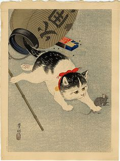 """Ohara Koson - Cat Catching a Mouse, c.1930, Ohara Koson (小原 古邨?, Kanazawa 1877 – Tokyo 1945) was a Japanese painter and printmaker of the late 19th and early 20th centuries, part of the shin-hanga (""""new prints"""") movement."""
