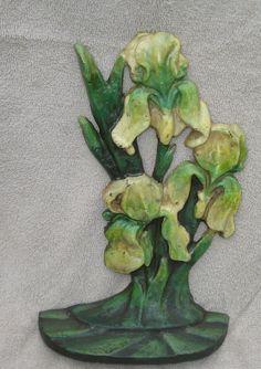 HEAVY CAST IRON ART DECO STYLE IRIS FLOWERS   DOORSTOP 11'' TALL