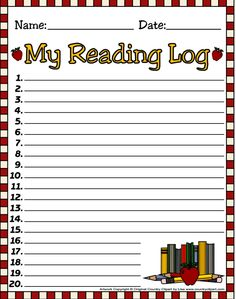 Lots of reading logs in color or black & white.