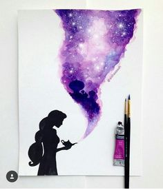 Wonderful Screen drawing disney aladdin Tips Many individuals start drawing because they're attracted by the appearance of their favorite chara Art Disney, Disney Crafts, Punk Disney, Disney Movies, Disney Characters, Galaxy Painting, Galaxy Art, Watercolor Disney, Watercolor Paintings