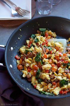 Kale, Sausage  Quinoa Scramble #glutenfree #arrowheadmills