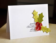 Christmas Holly Card by Maile Belles for Papertrey Ink (October 2012)