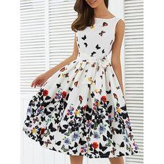 $22.40 Sleeveless Floral Print Self Tie A Line Dress - White - L