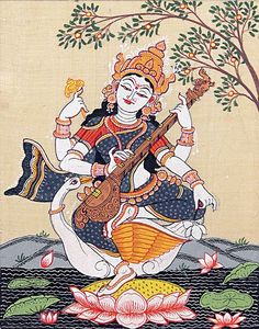 Sitting Saraswati - Sitting Saraswati – Folk Art Paintings (Orissa Pattachitra Painting on Tussar Silk – Unframed) - Ganesha Art, Krishna Art, Krishna Images, Indian Traditional Paintings, Indian Art Paintings, Madhubani Art, Madhubani Painting, Saraswati Painting, Buddhism