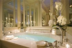 Love this romantic master bathroom!