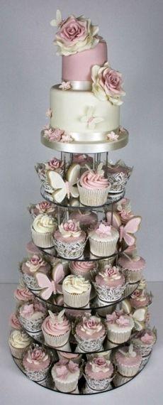 Menyasszonyi torták - Silver and Pink Wedding Cake of Cupcakes in ilver