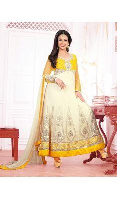 Lush Off White & Yellow Salwar Kameez